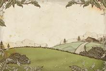 Engraving Style Farmland