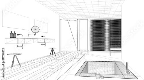 Interior Design Project Black And White Ink Sketch Architecture