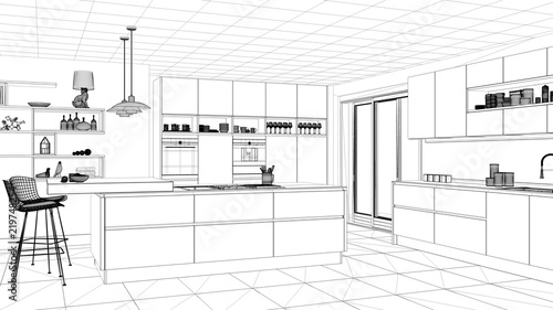 Interior design project black and white ink sketch architecture blueprint showing modern kitchen with  sc 1 st  Adobe Stock & Interior design project black and white ink sketch architecture ...