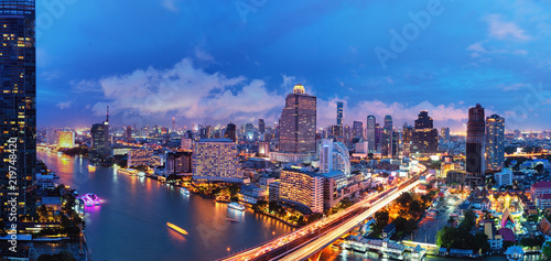 Photo Stands Bangkok Aerial view landscape of River in Bangkok city at night time