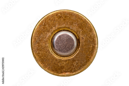 bottom bullet cartridge on white background Fotobehang