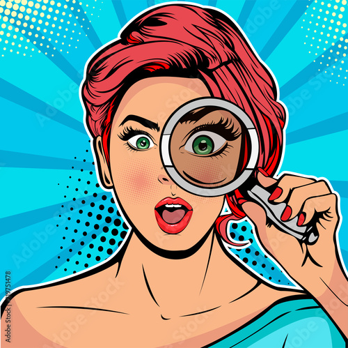 Cuadros en Lienzo The woman is a detective looking through magnifying glass search