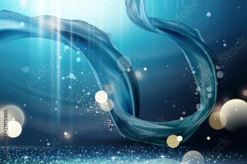 Fotografie, Obraz  Blue satin design element