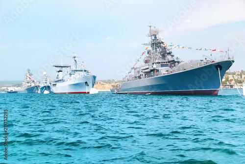 Fotografie, Obraz Military navy ships in order on blue sea