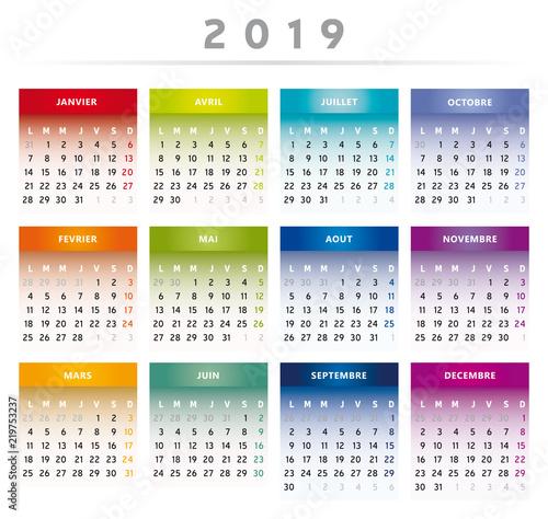 Calendrier Francais 2019.Calendrier 2019 En Francais Couleurs Arc En Ciel Format 4