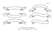 Set Of Vintage Hand Drawn Ribb...