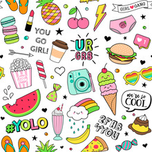 Cute Fun Doodles Seamless Pattern On White Background For Teenage Girls