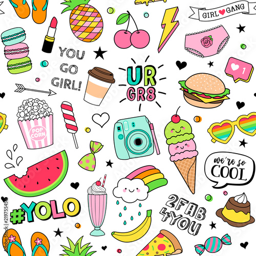 Cute Fun Doodles Seamless Pattern On White Background For Teenage
