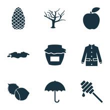 Autumn Icons Set With Umbrella...