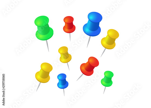Push pins set  Stationery object, plastic element, tack and