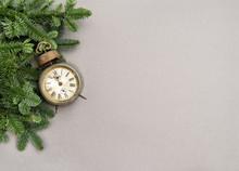 Christmas Decoration Vintage Alarm Clock Grey Background