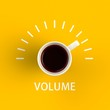 Top view of a cup of coffee in the form of volume control isolated on yellow background, Coffee concept illustration, 3d rendering