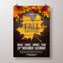 Autumn Party Flyer Illustration With Falling Leaves And Typography Design On Vintage Wood Background. Vector Autumnal Fall Festival Design For Invitation Or Holiday Celebration Poster.