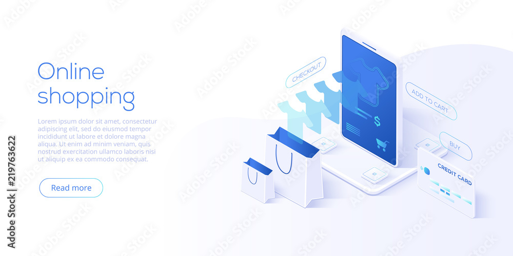 Fototapeta Online shopping or e-commerce isometric vector illustration. Internet store checkput procedure  concept with smartphone and bag. Credit card payment transaction via app.