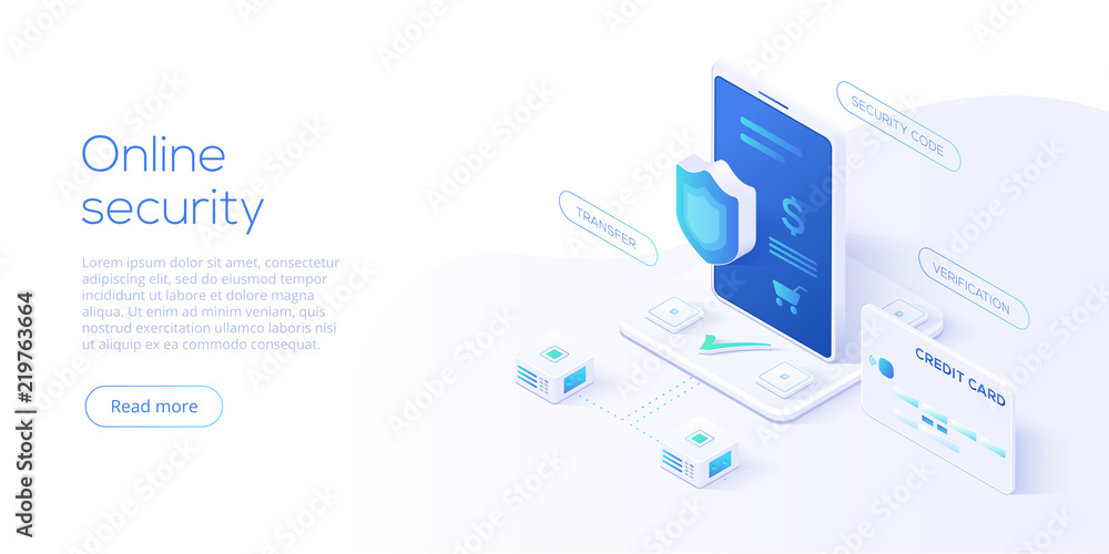 Fototapeta Mobile data security isometric vector illustration. Online payment protection system concept with smartphone and credit card. Secure bank transaction with password verification via internet.