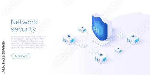 Network data security isometric vector illustration Wallpaper Mural