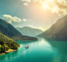 Beautiful Morning Sunrise View On The Mountain Lake In Alps
