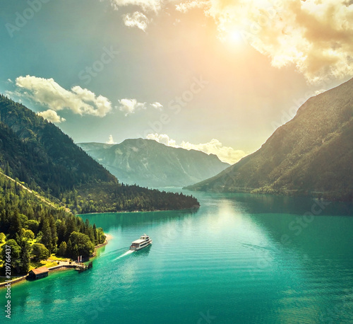 Staande foto Beige Beautiful morning sunrise view on the mountain lake in Alps