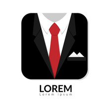 Vector Illustration Of Black Man Suit With Red Tie And White Shirt Isolated On White Background. Business Man In Suit Logo With Copy Space, Man In Suit
