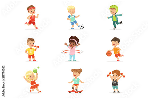 Fotografie, Obraz  Small Kids Playing Sportive Games And Enjoying Different Sports Exercises Outdoo