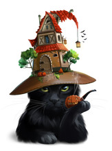 Black Cat And Hat-house. Watercolor Drawing