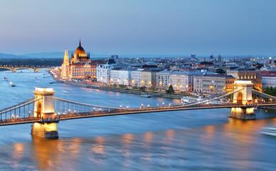 Fototapeta na wymiar Budapest, Hungary. Chain Bridge and the Parliament.