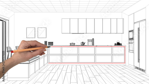 Interior Design Project Concept Hand Drawing Custom Architecture Black And White Ink Sketch Blueprint Showing Minimal Kitchen With Parquet Floor Buy This Stock Photo And Explore Similar Images At Adobe Stock