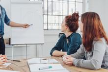 Zwei Frauen Hören Bei Einem Vortrag Im Büro Zu