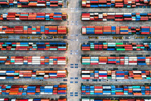 Overhead View Of Shipping Containers At Bangkok Port, Thailand.