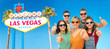 travel, summer holidays and leisure concept - group of happy smiling friends in sunglasses showing thumbs up over welcome to fabulous las vegas sign background