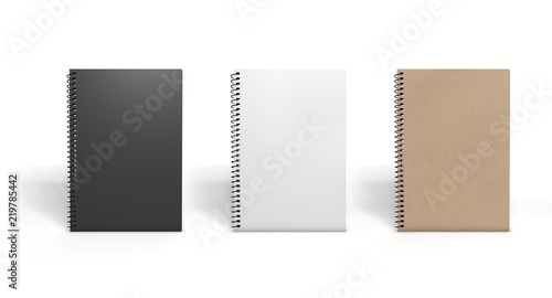 Fotografie, Obraz  Several recycled paper notebooks isolated on white. 3D