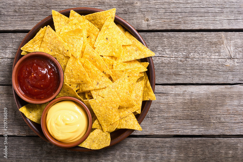 Crispy chips nachos with tomato and cheese sauce