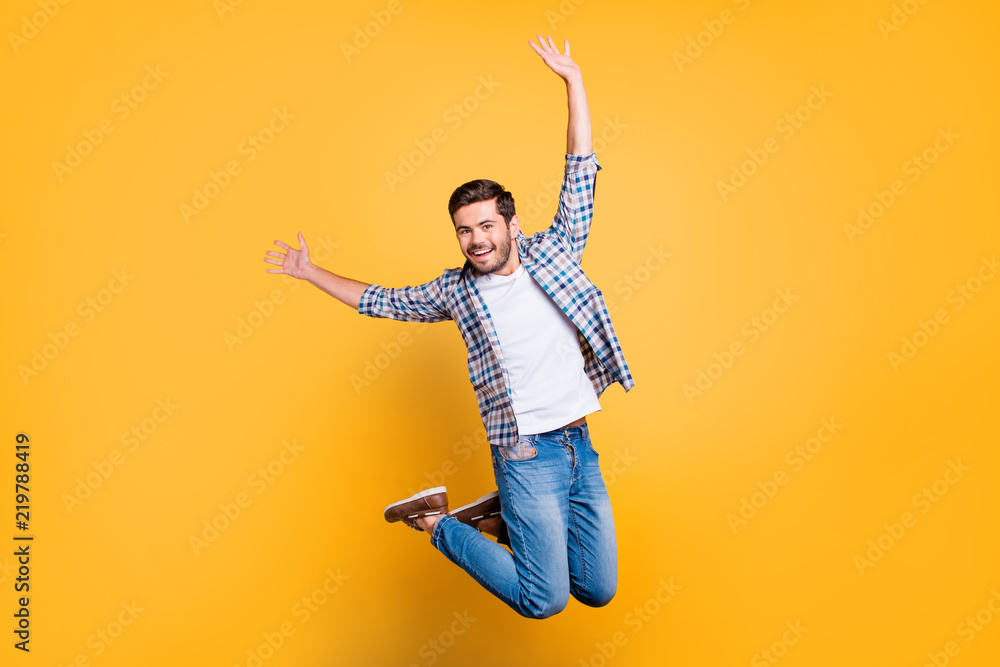 Fototapety, obrazy: Full-size portrait of attractive well-dressed nice-looking man in jump isolated on shine yellow background