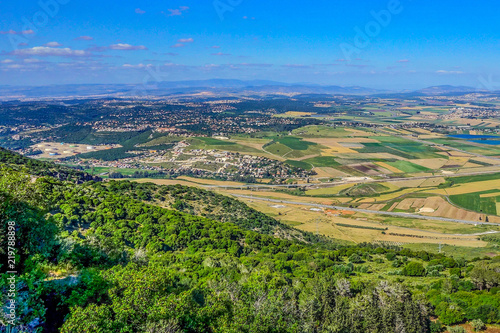 Photo View of Armageddon Valley from Carmel mountain, Israel