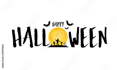 Fototapeta Happy Halloween Lettering Design Holiday Calligraphy With Moon And Zombie Illustration Isolated On White Background For Poster Banner