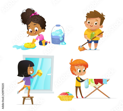 Cuadros en Lienzo Collection of children doing household routines - mopping floor, washing window, hanging clothes on drying rack