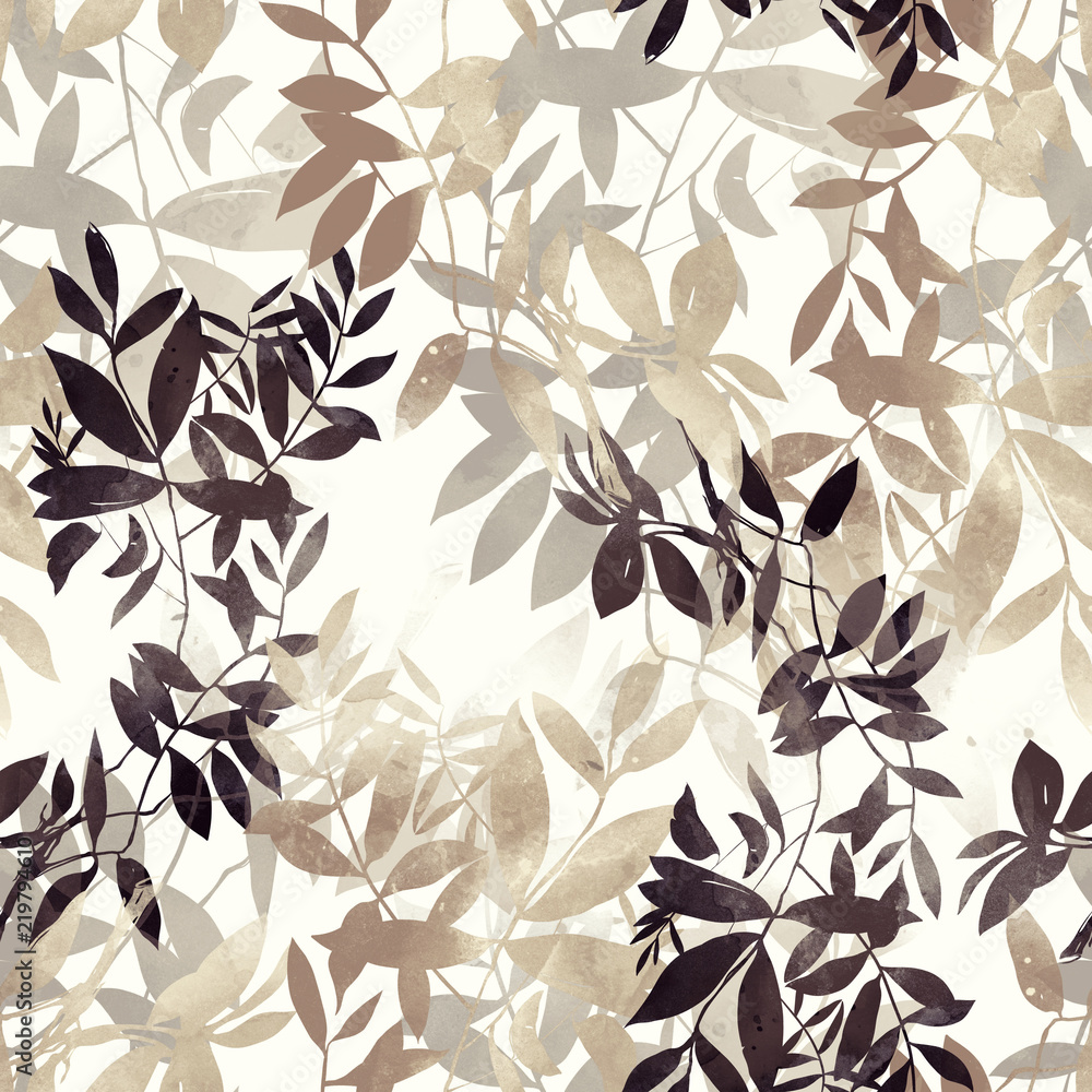 imprints Japanese style abstract twigs with leaves mix repeat seamless pattern. digital hand drawn picture with