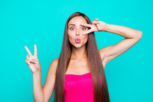 Hey Hi Hello! Close Up Studio Photo Portrait Of Sweet Lovely Winsome Fascinating Lady Giving V-sign Staring Looking At Camera Isolated On Bright Vivid Pastel Shinny Background