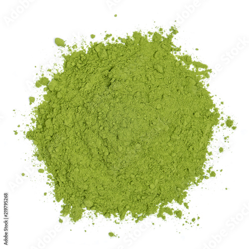 Organic barley grass powder isolated on white background, top view