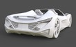 White plastic conceptual model of a sports car convertible on a gray background. 3d rendering.