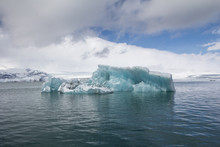 Blue Massive Iceberg In Jökulsárlón Glacier Lagoon, Iceland