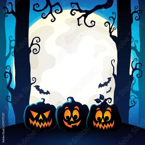 Spoed Foto op Canvas Voor kinderen Halloween forest theme image 9