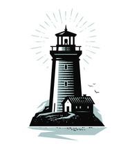 Lighthouse Logo Or Label. Mari...