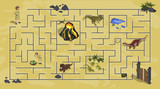 Fototapeta Dinusie - Cartoon kids maze in dinosaur world. Labyrinth of dino way. Help  researcher find path to gate. Childrens home game. Vector isometric illustration