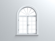 Vintage Blank Window Inside Room. 3d Illustration