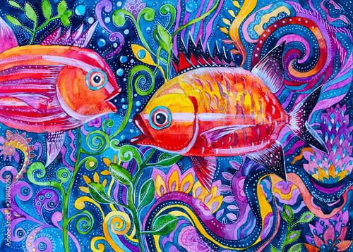 Fototapeta reprodukcje  malowane-akwarela-fantasy-kolorowe-ryby