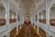 Interior Of The Historic Saint Peter's Catholic Church Along The Cabot Trail In Cheticamp, Nova Scotia
