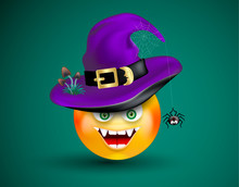 Cute Smiling Face Emoticon Viciously Laughing Wearing Witch Purple Hat With Scary Decor Of Spider On Cobweb And Poisonous Mushrooms On Dark Green Background. Halloween Icon.