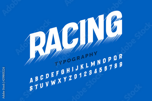 Motion effect font design, speedy style alphabet letters and numbers