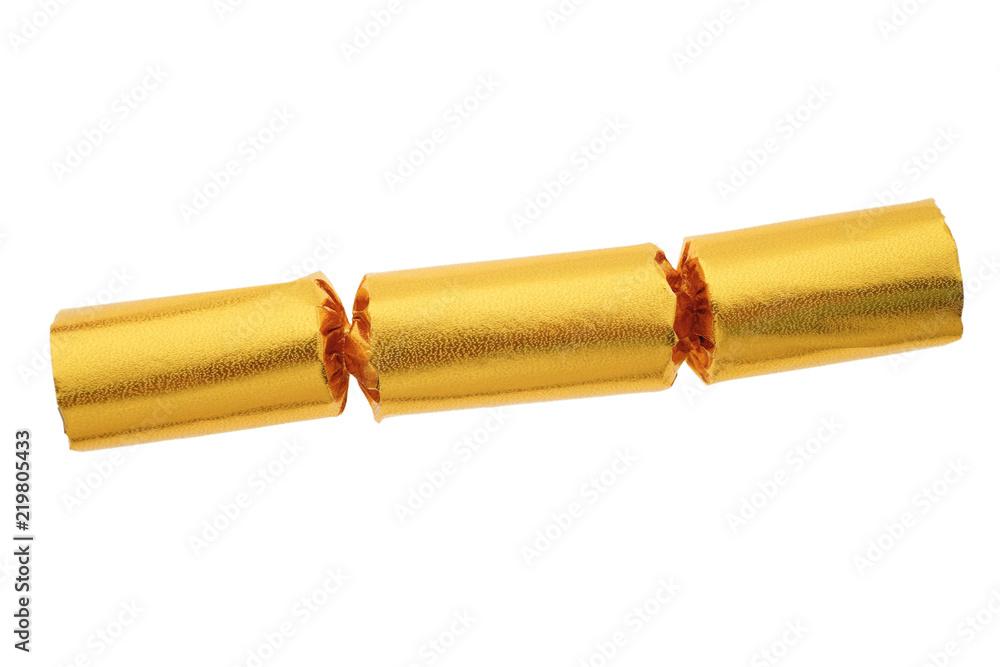 Fototapeta Gold party cracker isolated on white